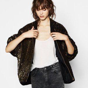Zara Black Gold Sequin Bomber Jacket